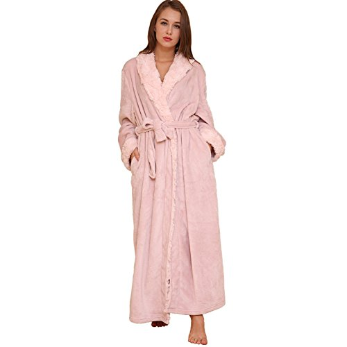 ae781b2514d4 SUNBABY Thicker Long Flannel Sleepwear for Women and Man Imitation Fur  Collar Bathrobes Warm Couple Pajamas
