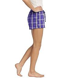 District Ladies Juniors Flannel Plaid Boxer, Purple S