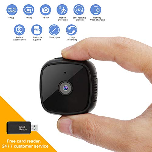 Mini Security Camera Supports Motion Detection and Night Vision, HD 1080P Spy Camera Provides Video and Photo Taking, The Portable Hidden Camera Can be Used as a Home Security Babysitting Pet Monitor ()