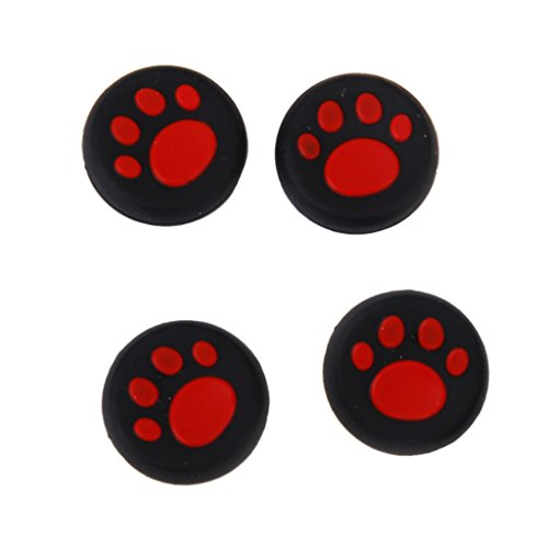 Generic Cat Paw Analog Joystick Thumbstick Grips Caps for PS4 Xbox 360 Red
