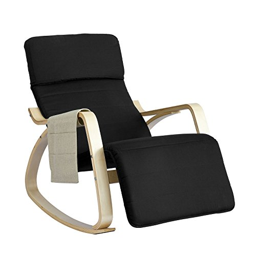 SoBuy NEW! Comfortable Relax Rocking Chair with Footrest Design, Lounge Chair Recliner with Side Storage Bag (FST16-SCH)