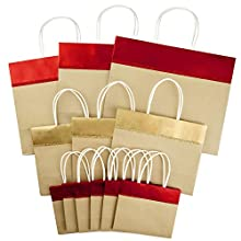 """Hallmark Christmas Wide Gift Bag Assortment, Red and Gold Foil, Kraft Paper (Pack of 12; 10"""" Large, 7"""" Medium, 5"""" Small)"""