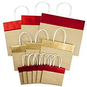 Hallmark Christmas Gift Bag Assortment, Red and Gold Foil (Pack of 12, Large, Medium, Small)