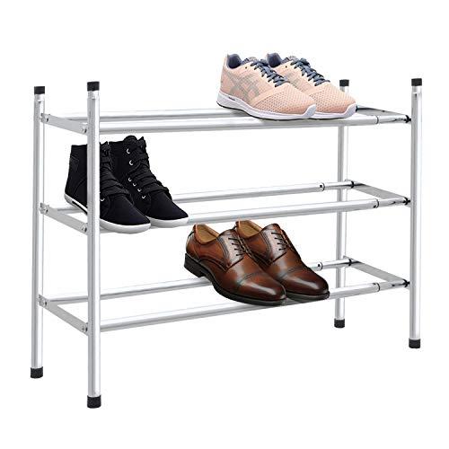 Knight Range-chaussures extensible et empilable avec finition chromée Niveau 2: (L) 62-115cm (W) x 23 cm (H) 35cm