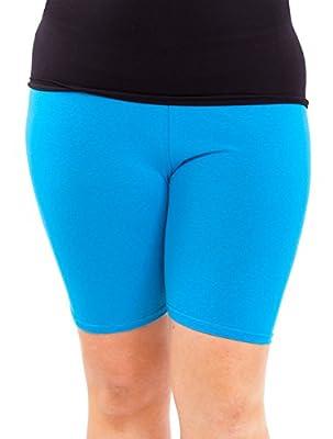 Woman Plus Size Cotton Spandex Mid Thigh Shorts, Multiple Colors Available