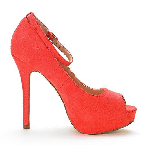 Dream Pairs Zapato De Vestir Para Mujer Swan-10 De Tacón Alto Plaform Zapatos De Sandía