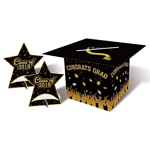 Congrats Grad Card Box Holder For Glass of 2019 Graduation Party Centerpiece & Table Decoration Kit