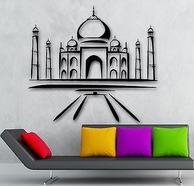 Pegatinas de pared de vinilo calcomanía Taj Mahal mezquita islámica viajes árabe decoración