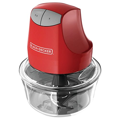 - BLACK+DECKER EHC3002B Glass Bowl Chopper (Contains Two 4-Cup Bowls and Lids plus Chopper), Red