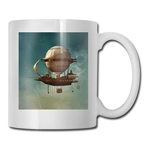 Funny Ceramic Novelty Coffee Mug 11oz,Surreal Sky Scenery With Steampunk Airship Fairy Sci Fi Stardust Space Image,Unisex Who Tea Mugs Coffee Cups,Suitable for Office and Home