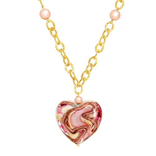 Murano Glass Swirl Heart Necklace in 14K Gold-Bonded Sterling (14k Gold Murano Glass)