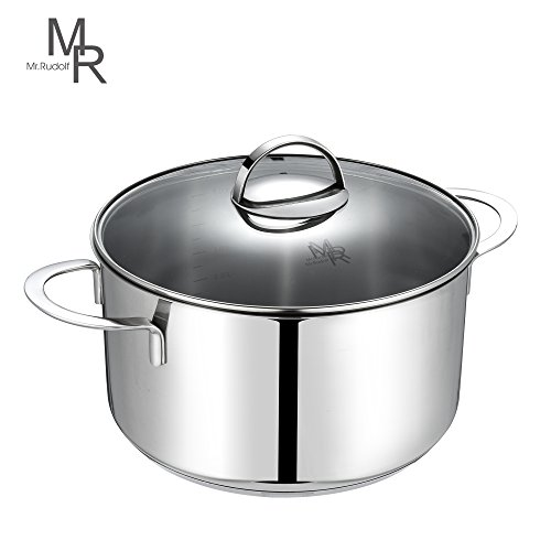 Mr. Rudolf 5 Quart 18/10 Stainless Steel 2 Handle Stock Pot Dutch Oven with Glass Lid Dishwasher Safe PFOA Free Casserole 24cm 5 Liter (Glass Steel Casserole)