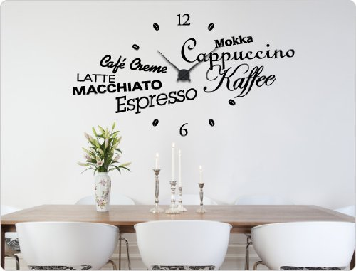 dekodino Wandtattoo-Uhr Küche Kaffee Kaffeespezialitäten