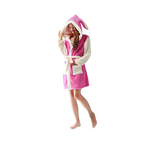 OCHENTA Fashion Bata para Mujer con Capucha RosaRojo Stitch