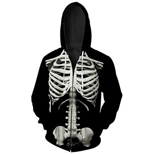 Men's Skeleton Hoodies Zipper 3D Printing Hooded Skull Sweatshirts Jacket with Two -