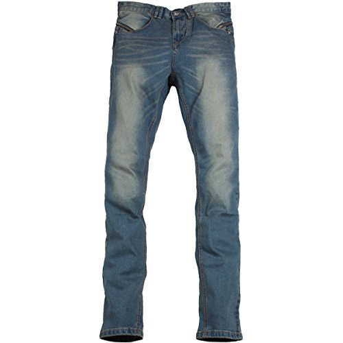 Alex Rogan Men's A762 Zipper Line Biker Denim Jeans Blue 32 - Rogan Men Jeans