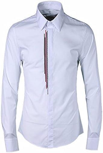 Los hombres camisetas rojo y negro bares bordado camisa de hombre marea Camisas de Hombres Hombres, blanco 46: Amazon.es: Ropa y accesorios