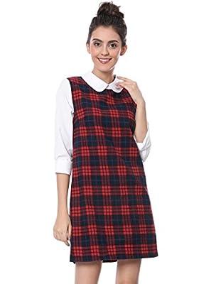 Allegra K Women's Contrast Peter Pan Collar Long Sleeve Check Christmas Dress