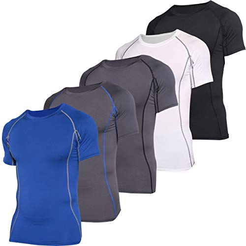 5 Pack: Men's Short Sleeve Compression Shirt Base Layer Undershirts Active Athletic Dry Fit Top