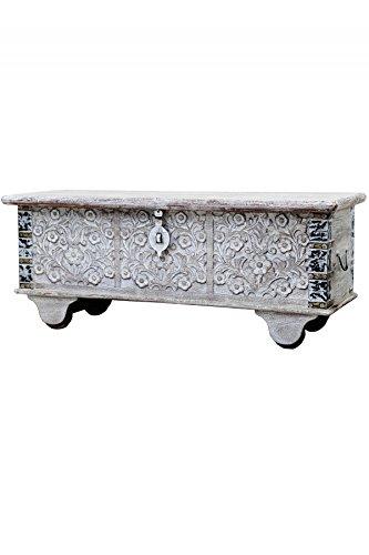 Vintage Sitzbank mit Aufbewahrung f/ür den Flur Betttruhe als Kissenbox oder Deko im Schlafzimmer Orientalische Truhe Kiste aus Holz Daher 116cm White Wash Aufbewahrungsbox mit Deckel im Bad