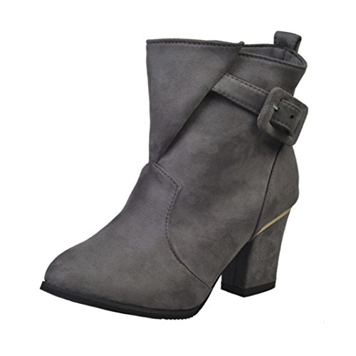 IGEMY Women Buckle Ladies Belt Faux Warm Boots Ankle Boots High Heels Martin Shoes Gray FQDBM8