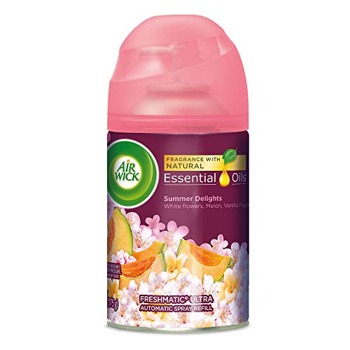 Air Wick Life Scents Automatic Air Freshener Spray, Summer Delights with White Flowers, Melon & Vanilla Scent, 6.17 oz (Pack of 9) ()