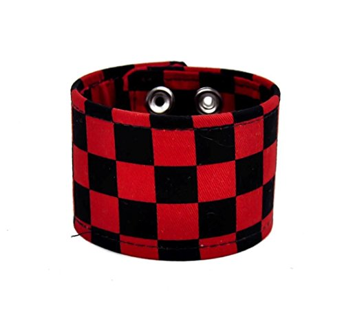 Black & Red Checkered Canvas Fabric Wristband Bracelet Cuff Vegan Friendly 2