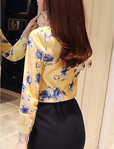 Yellow Floral Couleur Blouse Unie Imprim Femme Gomtrique YFLTZ wq08AXgn