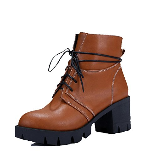 AllhqFashion Womens Kitten-Heels Solid Round Closed Toe Soft Material Lace-up Boots Brown vubwgJmA