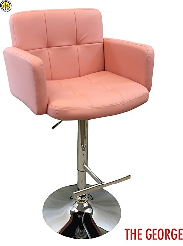 DevLon NorthWest PU Leather Bar Stool Modern Swivel Hydraulic Dining Kitchen Chair LIGHT PINK (Stools Sale Bar For Breakfast)