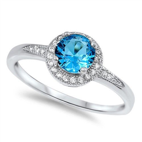 Oxford Diamond Co Halo Style Solitaire Blue Cz Promise Engagement Ring .925 Sterling Silver Ring Sizes (10) (Blue Topaz Ring Size 10)