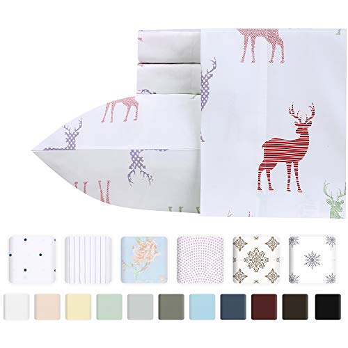 Premium 400-Thread-Count 100% Natural Cotton Sheets - 3-Piece Mod Lodge Multicolor Twin XL Sheet Set Long-Staple Combed Cotton Printed Bed Sheets for Bed Breathable Cotton Sateen Weave Sheets Set (Set Printed Twin)