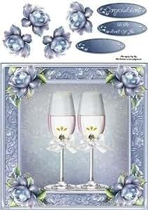 Champán cristal de con azul rosas 8X 8por Amy Perry