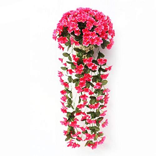winkstores Artificial Flower Decoration Simulation Valentine's Day Wedding Wall Hanging Basket Flower,Rose red