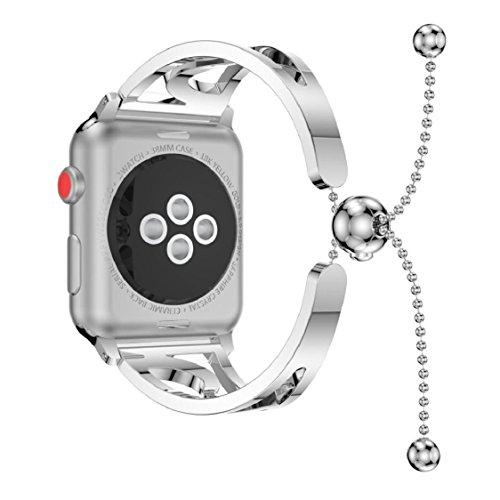 For Apple Watch Series 3 38MM/42MM,Sunfei Fashion Bracelet Replacement Girls WatchBands Strap (Silver, 42MM)