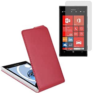 Viesrod iTALKonline Nokia Lumia 925 PU Leather RED Executive Flip Wallet Book Case Cover and LCD Screen Protector plus...