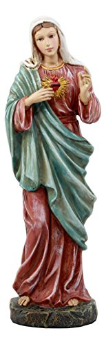 Ebros Catholic Church Sacred Heart of Mary Statue Devotion of Madonna Decorative Figurine 11.25