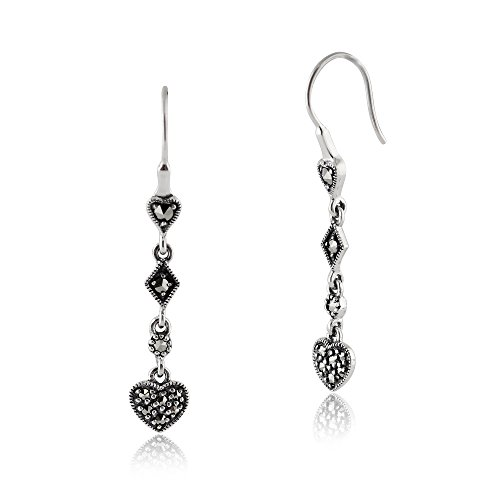 Gemondo Marcasite Earrings, Sterling Silver 0.34ct Marcasite Pave Set Heart Drop Earrings (Marcasite Heart)