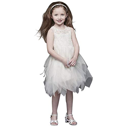 Handkerchief Hem Tulle and Lace Flower Girl/Communion Dress Style CR1396, Soft White, 2T
