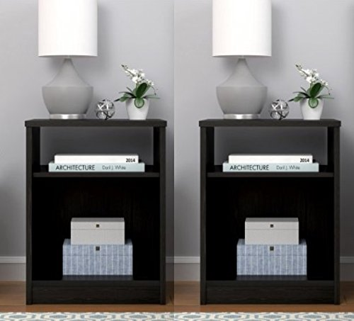 (Nightstands (Set of 2) with Open Shelf Cubby MDF End Tables Pair Bedroom Table Furniture -)