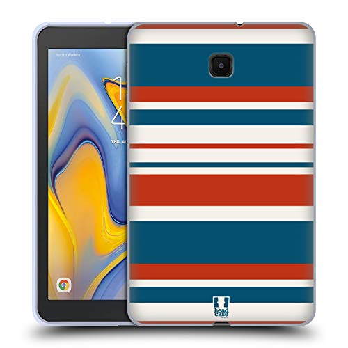 Head Case Designs Classic Blue and Red Stripes Collection 2 Soft Gel Case Compatible for Galaxy Tab A 8.0 (2018)