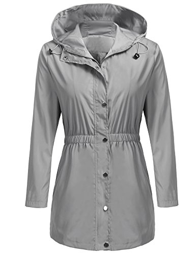 happilina Women's Zip Lightweight Hooded Waterproof Active Outdoor Rain Jacket Grey L by happilina