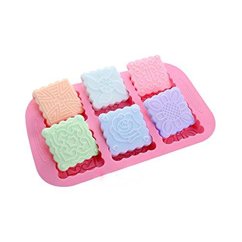 X-Haibei 6-Cavity Square Mooncake Chocolate Cake Glycerin Soap Bar Silicone Mold Pan
