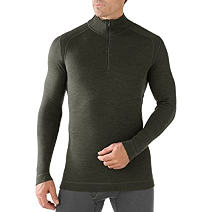 36-38 Inch Smartwool Mens NTS Mid 250 Zip T Baselayer-Olive Heather Small
