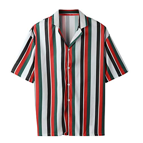 (Serzul New!! Vertical Striped Slim Fit T-Shirts Short Sleeve Casual Button Down Dress Shirts O-Neck Top Blouse for Men Red)