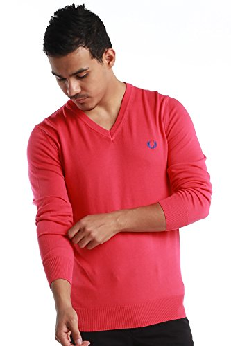 """Fred Perry Green Label Men's Sweatshirt Medium Pink V-Neck Sweatshirt with Blue """"laurel"""" by Fred Perry (Image #6)"""