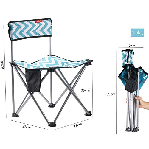 ACHDJzdy Outdoor Folding Chair Art Student Painting Chair Portable Fishing Chair Folding Stool Mazar Bench (Color : Boon Blue) (Painting Rocking Wicker Chair)