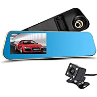 Ouguan Dual Lens Car Camera, Car Video Recorder for Vehicles Front and Rear DVR, 4.3 Inch Screen, Enhanced HD1080P with CLASS 10 Micro SD Included - Black