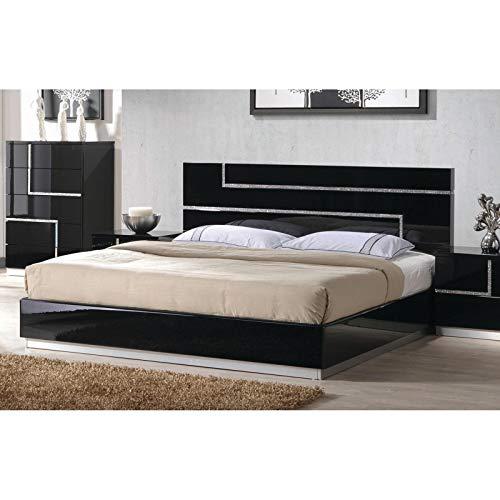 Best Master Furniture Barcelona Modern Platform Bed, King, Black