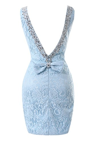 Back Dresses the Mother Bess Ocean Mini Short Bride Lace Women's of Blue Bridal Beaded V CCvxqA7wX